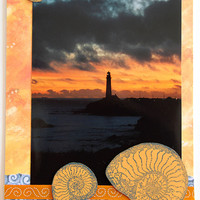 Pigeon Point Lighthouse at Sunset Photo Art Card, Mixed Media Card, Scrapbook Card for All Occasions, Fine Art Photography, Dramatic Image