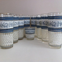 Blue and White Glasses Helenic Greek Patrician by Jeanette Glass
