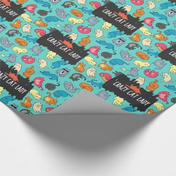 Crazy Cat Lady Cute and Playful Cat Pattern Wrapping Paper