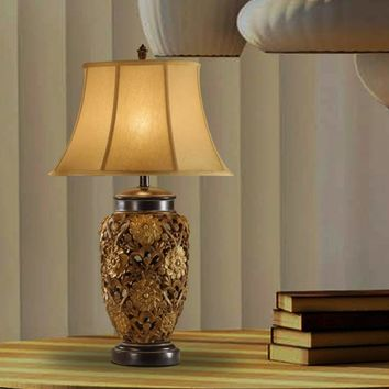 """33"""" Table Lamp With Embellished Base Set Of 2 Gold"""