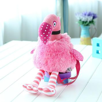 Girls Pink Flamingo Small Backpack Kids Hot Sale Cute Birds Plush Double Shoulder Bags Children Casual Cartoon Doll Toys Bag