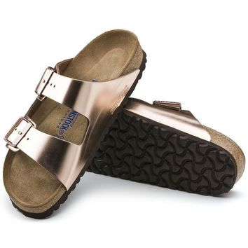 Sale Birkenstock Arizona Soft Footbed Leather Metallic Copper 752723 Sandals