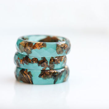 Teal Resin Ring Copper Gold Flakes Small Faceted Ring OOAK mint sage green emerald brown minimalist jewelry rusteam