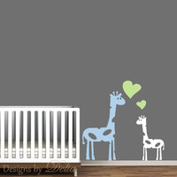 Wall Decal for Nursery or Children's room with Mommy or Daddy Giraffe and Baby Giraffe