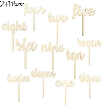 Kiwarm 1-12 Wooden Table Numbers Freestand Stick Set Wedding Birthday Party Decor With Base For Home Craft Gift Ornament