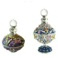 SET OF TWO: Celtic Perfume Bottles inlaid with Swarovski Crystals, Purple, Black