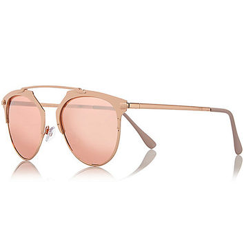 Rose gold tone brow bar sunglasses - retro sunglasses - sunglasses - women