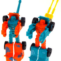 Lot 12 Transforming Tank Robots Toy Plastic Party Favors Cake Topper Blue Orange