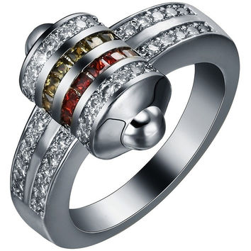 BLACK GOLD PLATED RING BULLET SHAPE PAVED WITH RED GREEN WHITE CZ TRENDY JEWELRY MEN WEDDING ENGAGEMENT SILVER PLATED RING