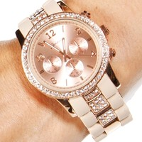 Beige/Rose Gold Rhinestone Rim Link Watch