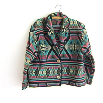 vintage southwestern cropped jacket / knit tapestry coat // women's fall blazer size L