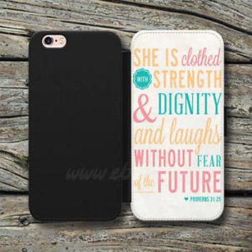 Bible Verse Proverbs 31 25 Wallet iPhone Case Samsung Wallet Leather Phone Cases
