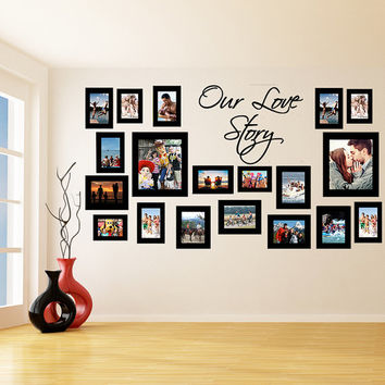 Vinyl Wall Decal Picture Frames Design / Our Love Story Photos Art Decor Sticker / Photo Frame Removable Stickers + Free Random Decal Gift!