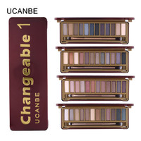 UCANBE Brand New Naked makeup eyeshadow palettes makeup brush 12 earth tone Colors Smoky eye shadow cosmetics Make up kit set
