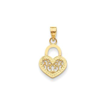 14k Yellow Gold Filigree Heart Lock Pendant