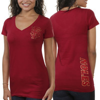My U Florida State Seminoles :FSU: Ladies Sequin Team Slim Fit V-Neck T-Shirt - Garnet