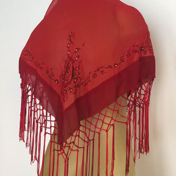 Red Fringed Shawl, Embroidered Red Shawl, Fancy Vintage Shawl, Large Triangle Shawl, Knotted Fringe Embroidered Flowers Red Fringed Wrap