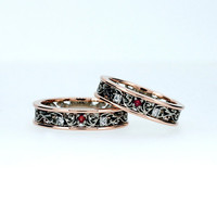 Filigree wedding band set with red sapphire and diamonds, two tone, rose gold filigree, white gold wedding rings, matching ring, red ring