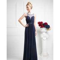Preorder - Navy Blue Chiffon Illusion Sweetheart Long Gown 2016 Prom Dresses