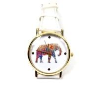White Strap Colorful Elephant Watch