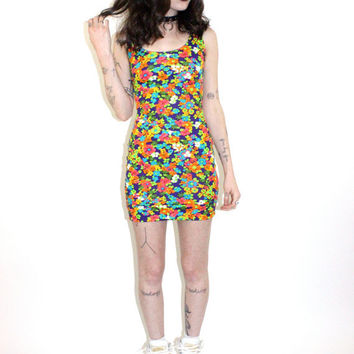 hella 90s.........all over Bright mod Floral tight Bandage dress