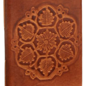 Antique Debossed Leaves Brown Italian Leather Lined Journal (6'' x 8'')