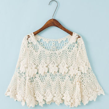Off-White Sheer Lace Crochet Crop Top