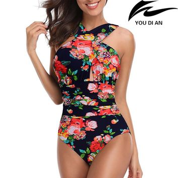 2018 New plus size one piece swimwear Russian USA swimsuit one piece larges size swim swimming bathing beachwear suit