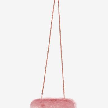 Skinnydip London Split Hairs Faux Fur Clutch - Pink