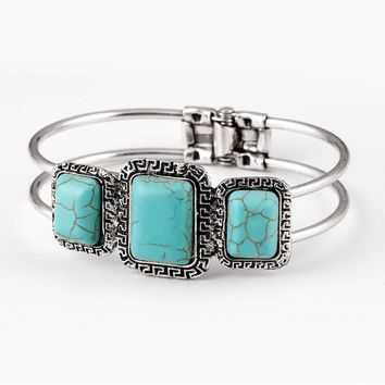 Native American Navajo Bracelet Turquoise Cluster Cuff