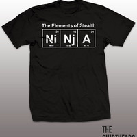 Funny Ninja T-shirt - the elements of stealth, karate, martial arts, periodic table, science geek tshirt, nerdy shirt, graphic, mens, ladies