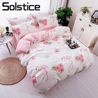 Cool Solstice Home Textile Flamingo Cartoon Lovely Bedding Sets Duvet Cover Pillowcase Sheet Linen Twin Full Queen King Size 3/4PcsAT_93_12