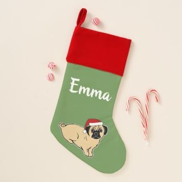 Pug Custom Velvet Lined Christmas Stocking