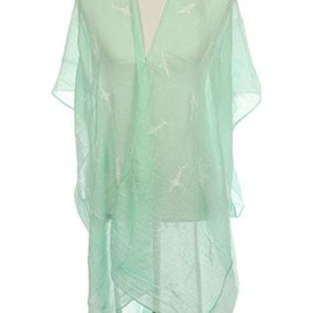 Poncho Embroidered Shark Sheer Coverup Sleeve Woven