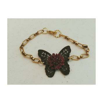 Mixed media butterfly bracelet- copper and brass with purple flower