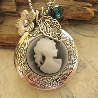 Victorian Cameo Locket in silver finish with by trinketsforkeeps