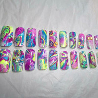 Marbled Fake Nail Set-Black Light-Neon blue, yellow and purple with embellishments-set of 20