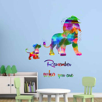 kcik2042 Full Color Wall decal Watercolor Character Disney Sticker Disney children's room The Lion King quote