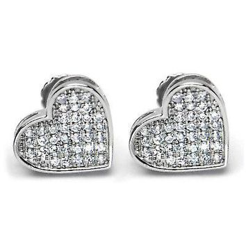 Jewelry Kay style Iced Out Silver Plated Pave Lab Diamond Caved Heart Screw Back Earrings 921 S
