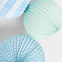 Blue Paper Globe Lantern Set - Green Multi One