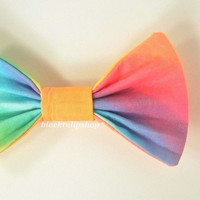 Cute Kawaii Fabric Hair Bow Colorful Ombre Rainbow
