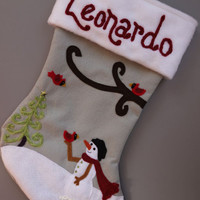 Snowman with Cardinals RESERVED Custom Listing for Gabriella