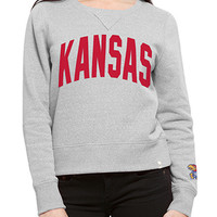 '47 Brand Kansas Jayhawks Womens Gray Splash Crew Sweatshirt