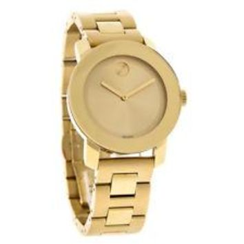 Movado Bold Ladies Gold Tone Bracelet Swiss Quartz Watch 3600085