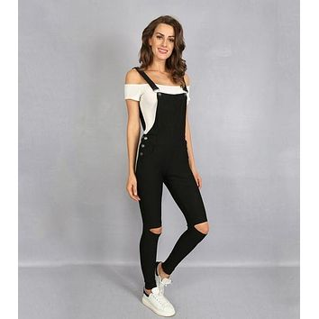 Women Overalls Solid Color