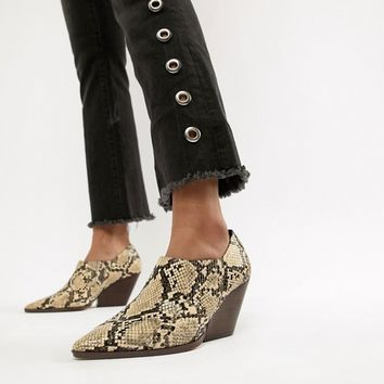 Mango cuban heel ankle boot in snake effect at asos.com