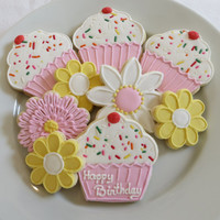 Pink Cupcakes and fllower decorated cookie favors for a Birthday, personalized, 1 dozen