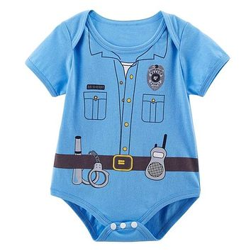 Baby Boy Girls Costume Newborn Bodysuit Cute Playsuit Doctor Pilot Ninja Pirate Nurse Infant Clothes Short Sleeve Cotton