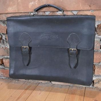RARE Vintage Briefcase / leather lawyer bag / corny club bag / 1970s black Bag / Doct