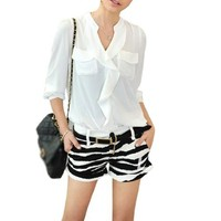 Lady V Neck Long Sleeve Semi Sheer Founcing Front Blouse White Xs